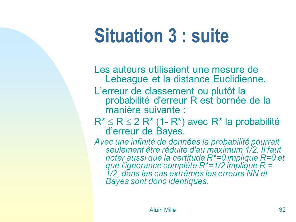 Alain Mille32 Situation 3 : suite Les auteurs utilisaient une mesure de Lebeague et la distance Euclidienne. Lerreur de classement ou plutôt la probab