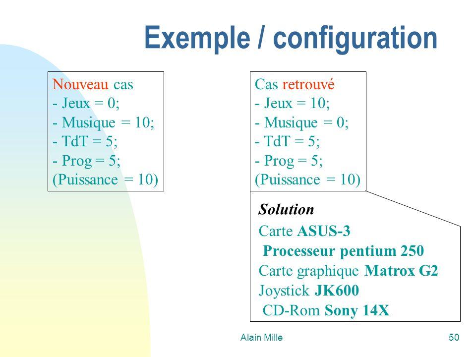 Alain Mille50 Exemple / configuration Nouveau cas - Jeux = 0; - Musique = 10; - TdT = 5; - Prog = 5; (Puissance = 10) Cas retrouvé - Jeux = 10; - Musi
