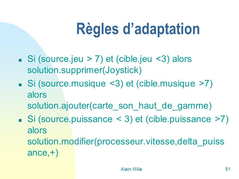 Alain Mille51 Règles dadaptation n Si (source.jeu > 7) et (cible.jeu <3) alors solution.supprimer(Joystick) n Si (source.musique 7) alors solution.ajo