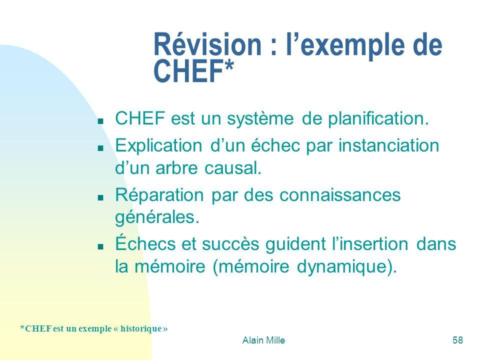Alain Mille58 Révision : lexemple de CHEF* n CHEF est un système de planification. n Explication dun échec par instanciation dun arbre causal. n Répar
