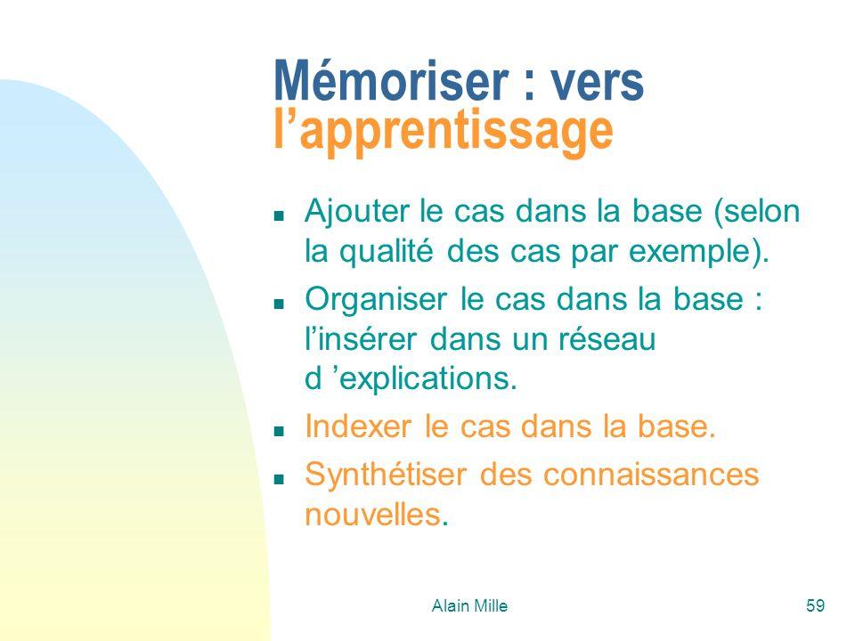 Alain Mille59 Mémoriser : vers lapprentissage n Ajouter le cas dans la base (selon la qualité des cas par exemple). n Organiser le cas dans la base :