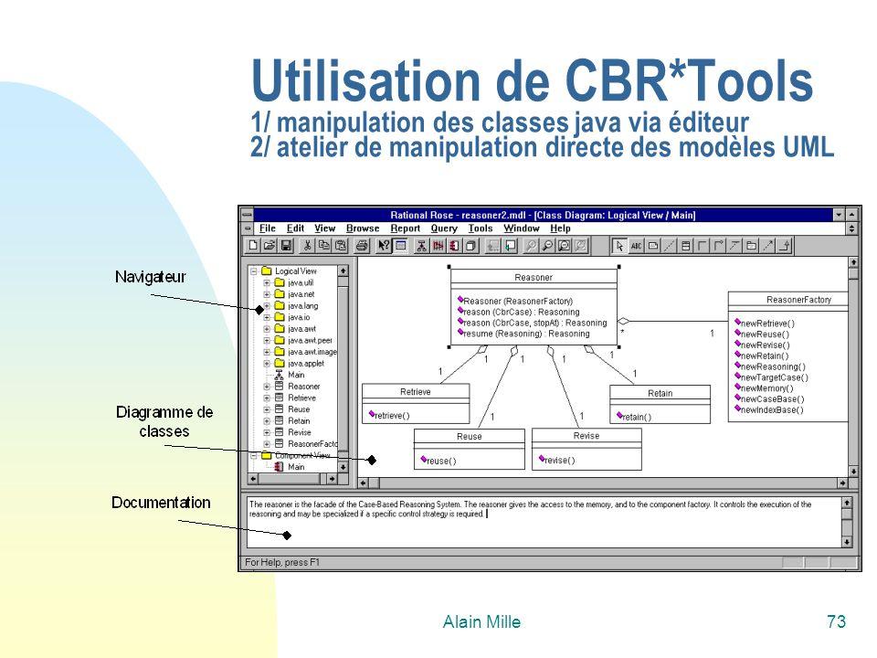 Alain Mille73 Utilisation de CBR*Tools 1/ manipulation des classes java via éditeur 2/ atelier de manipulation directe des modèles UML