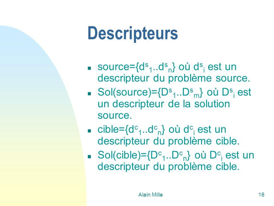 Alain Mille16 Descripteurs n source={d s 1..d s n } où d s i est un descripteur du problème source. n Sol(source)={D s 1..D s m } où D s i est un desc