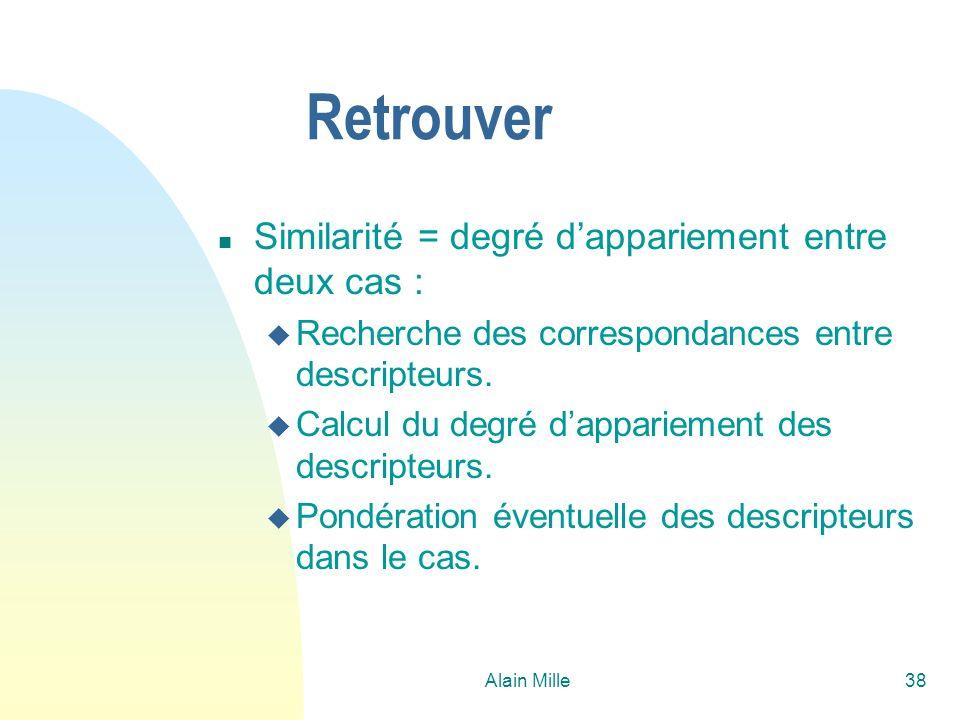 Alain Mille38 Retrouver n Similarité = degré dappariement entre deux cas : u Recherche des correspondances entre descripteurs. u Calcul du degré dappa