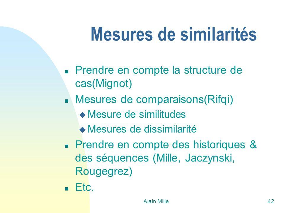 Alain Mille42 Mesures de similarités n Prendre en compte la structure de cas(Mignot) n Mesures de comparaisons(Rifqi) u Mesure de similitudes u Mesure