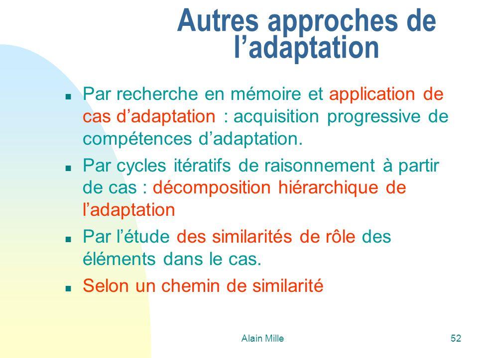 Alain Mille52 Autres approches de ladaptation n Par recherche en mémoire et application de cas dadaptation : acquisition progressive de compétences da