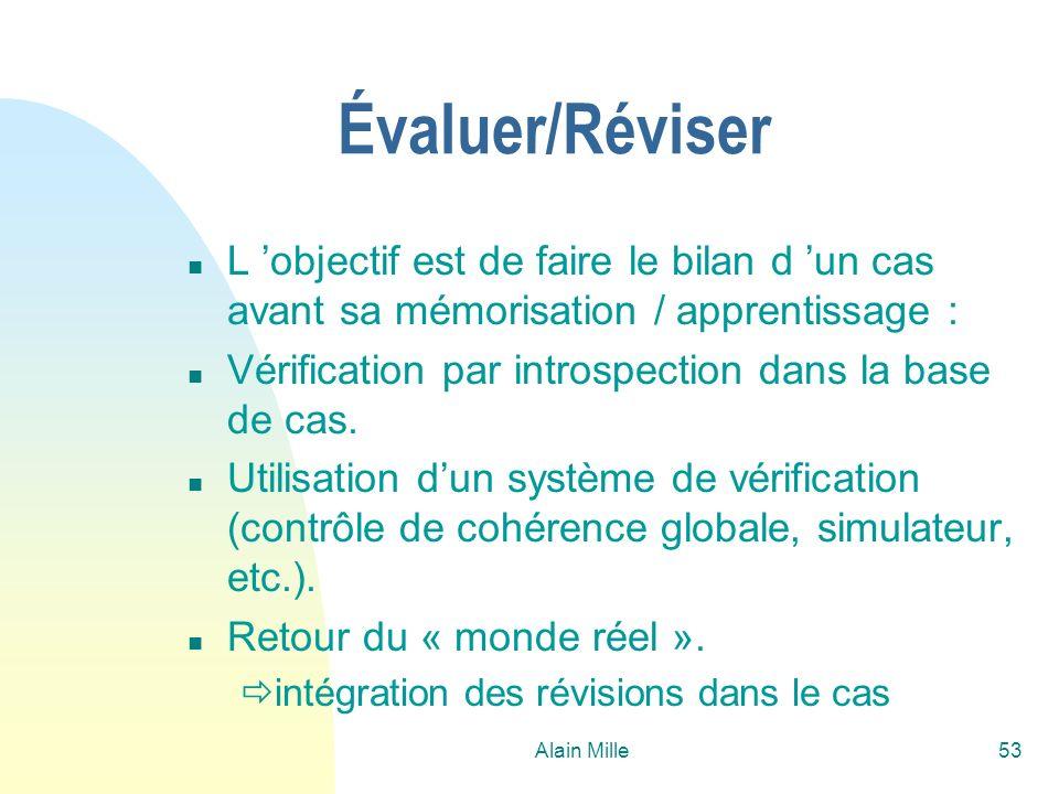 Alain Mille53 Évaluer/Réviser n L objectif est de faire le bilan d un cas avant sa mémorisation / apprentissage : n Vérification par introspection dan
