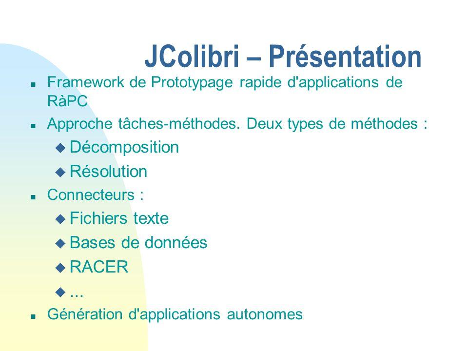 JColibri – Présentation n Framework de Prototypage rapide d'applications de RàPC n Approche tâches-méthodes. Deux types de méthodes : u Décomposition