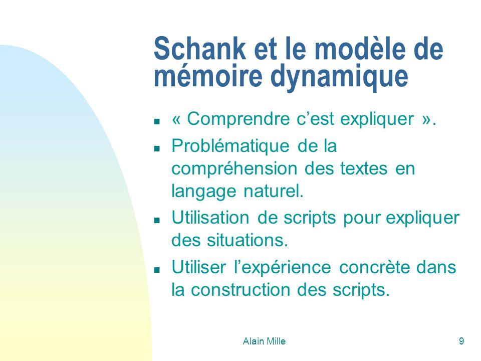Alain Mille40 La réalité… n La formule générale est le plus souvent quelque chose comme : P i = poids exprimant la « difficulté dadapter » la solution si le descripteur problème d i présente un écart entre cible et source.