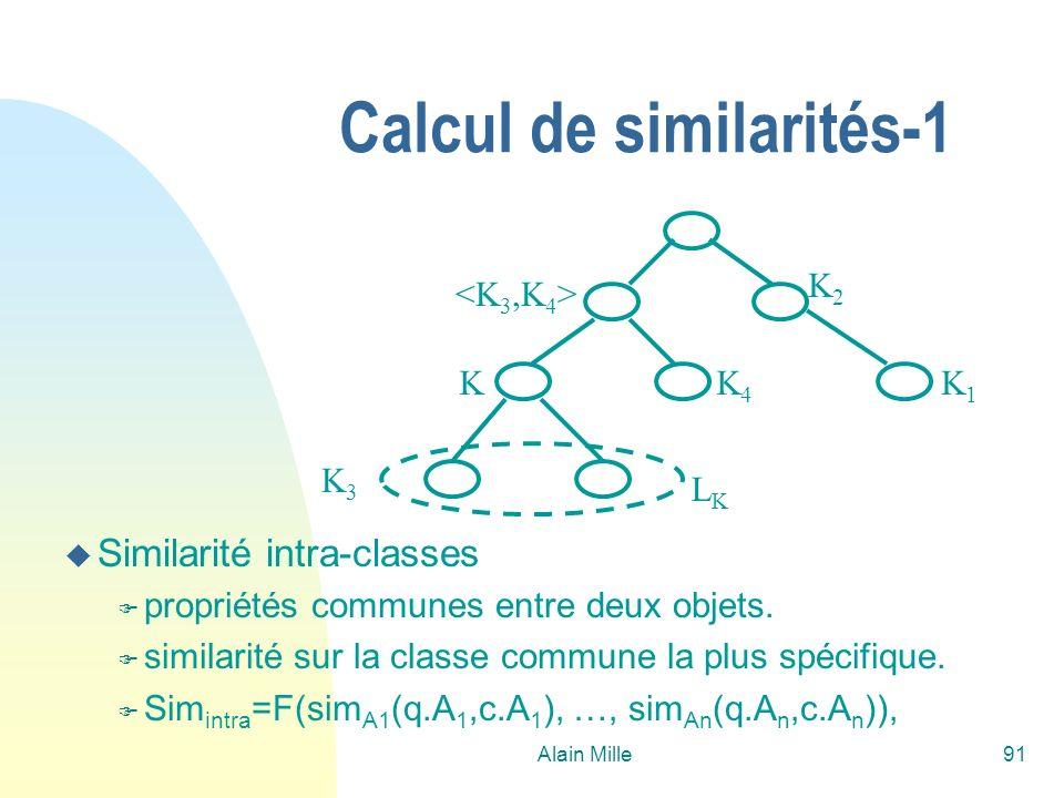 Alain Mille91 Calcul de similarités-1 K1K1 K2K2 K3K3 K4K4 K LKLK u Similarité intra-classes F propriétés communes entre deux objets. F similarité sur