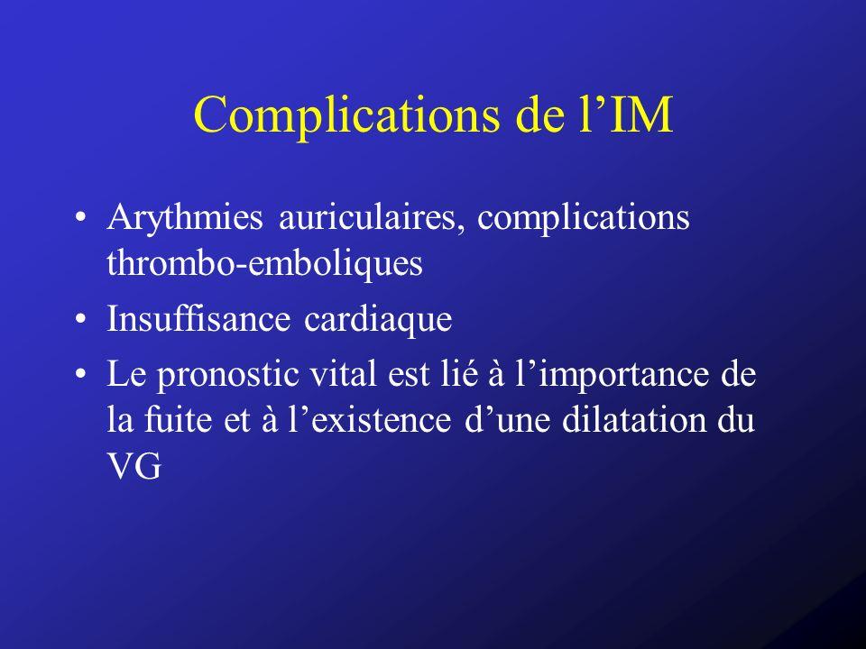 Complications de lIM Arythmies auriculaires, complications thrombo-emboliques Insuffisance cardiaque Le pronostic vital est lié à limportance de la fu