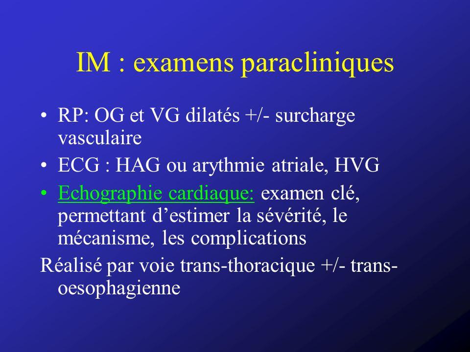 IM : examens paracliniques RP: OG et VG dilatés +/- surcharge vasculaire ECG : HAG ou arythmie atriale, HVG Echographie cardiaque: examen clé, permett