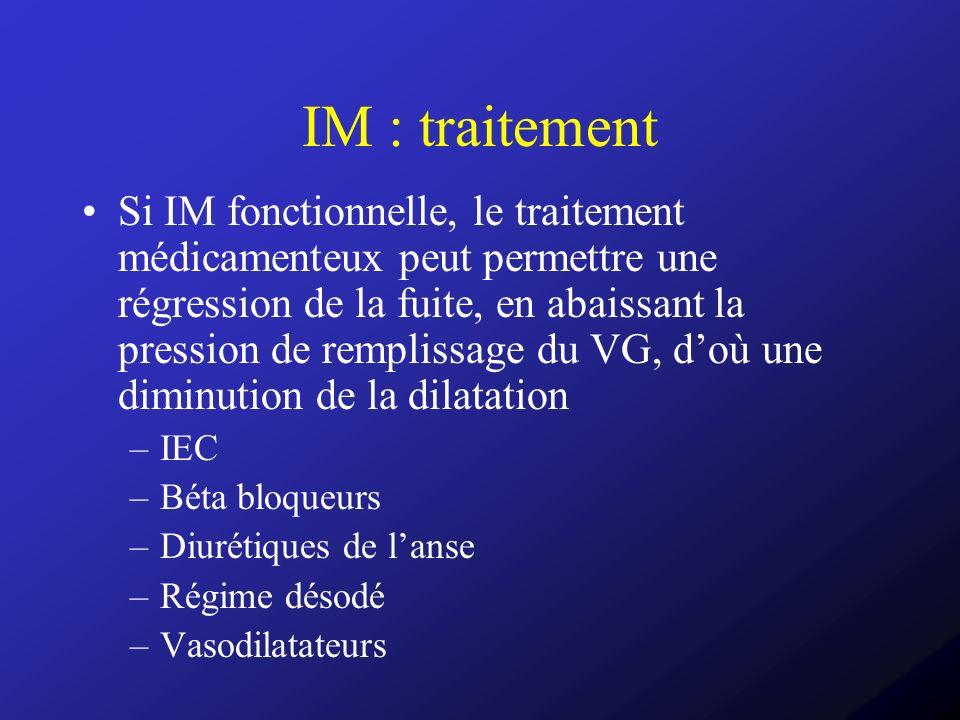 IM : traitement Si IM fonctionnelle, le traitement médicamenteux peut permettre une régression de la fuite, en abaissant la pression de remplissage du