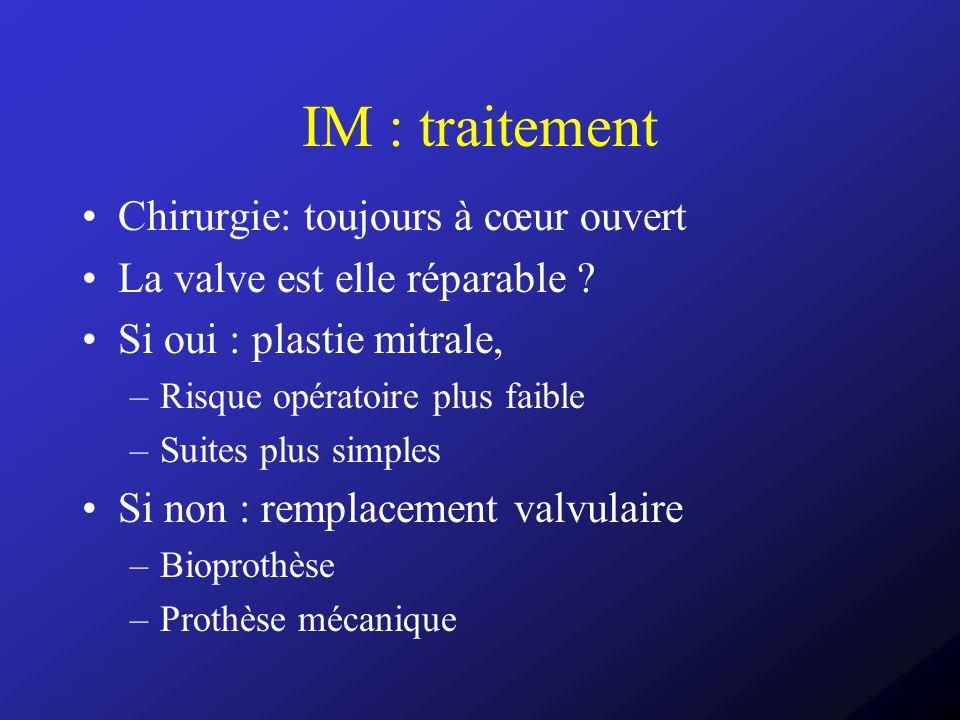 IM : traitement Chirurgie: toujours à cœur ouvert La valve est elle réparable ? Si oui : plastie mitrale, –Risque opératoire plus faible –Suites plus