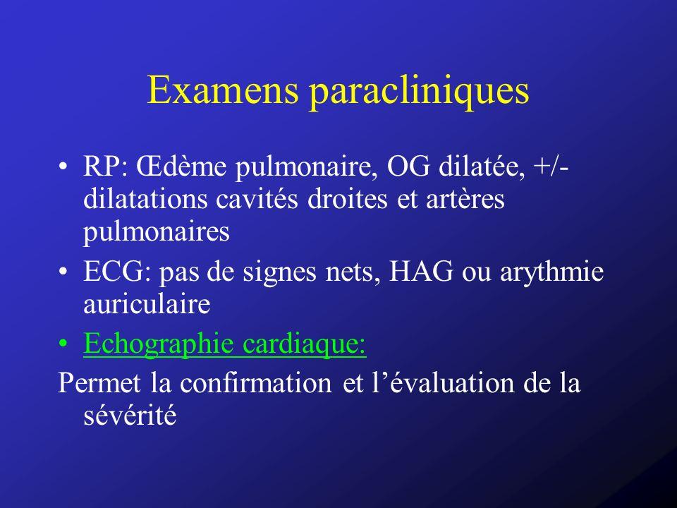 Examens paracliniques RP: Œdème pulmonaire, OG dilatée, +/- dilatations cavités droites et artères pulmonaires ECG: pas de signes nets, HAG ou arythmi