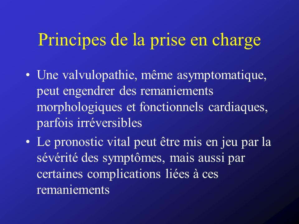 Principes de la prise en charge Une valvulopathie, même asymptomatique, peut engendrer des remaniements morphologiques et fonctionnels cardiaques, par