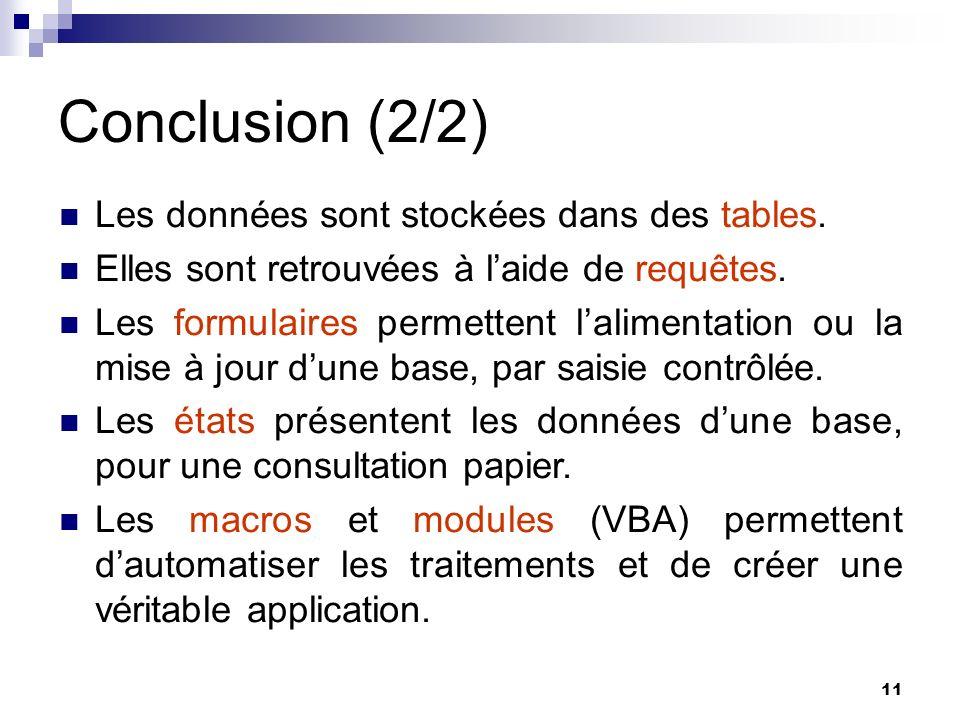 11 Conclusion (2/2) Les données sont stockées dans des tables.