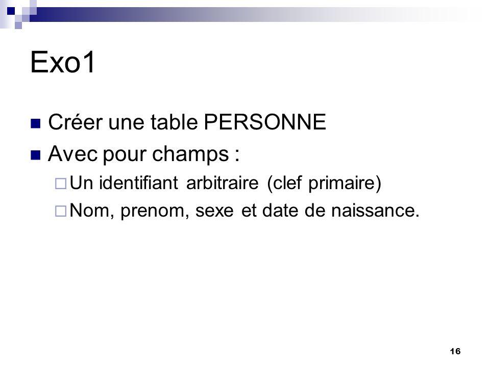 16 Exo1 Créer une table PERSONNE Avec pour champs : Un identifiant arbitraire (clef primaire) Nom, prenom, sexe et date de naissance.