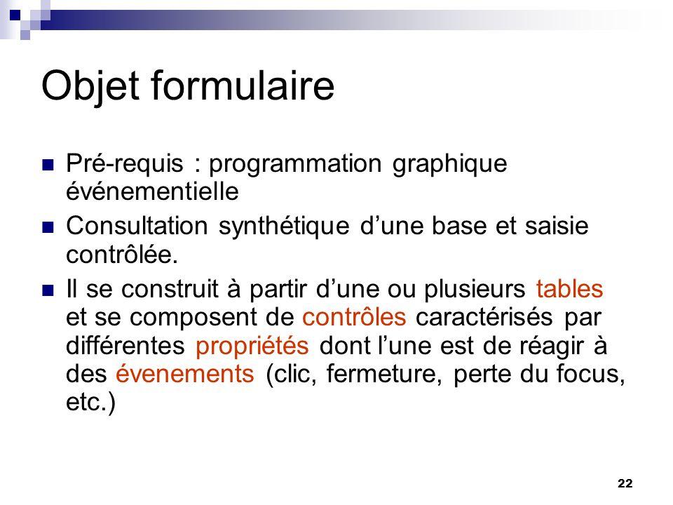 22 Objet formulaire Pré-requis : programmation graphique événementielle Consultation synthétique dune base et saisie contrôlée.