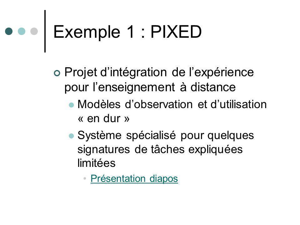 Exemple 1 : PIXED Projet dintégration de lexpérience pour lenseignement à distance Modèles dobservation et dutilisation « en dur » Système spécialisé pour quelques signatures de tâches expliquées limitées Présentation diapos