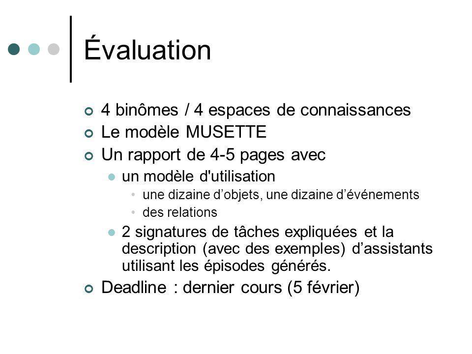 Évaluation 4 binômes / 4 espaces de connaissances Le modèle MUSETTE Un rapport de 4-5 pages avec un modèle d utilisation une dizaine dobjets, une dizaine dévénements des relations 2 signatures de tâches expliquées et la description (avec des exemples) dassistants utilisant les épisodes générés.