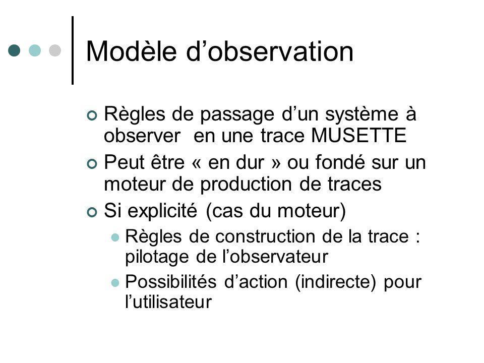 Modèle dobservation Règles de passage dun système à observer en une trace MUSETTE Peut être « en dur » ou fondé sur un moteur de production de traces Si explicité (cas du moteur) Règles de construction de la trace : pilotage de lobservateur Possibilités daction (indirecte) pour lutilisateur