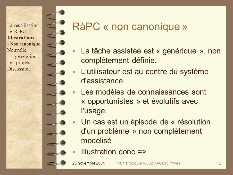 26 novembre 2004Pour le module RC02 RACOR Troyes12 RàPC « non canonique » La tâche assistée est « générique », non complètement définie.