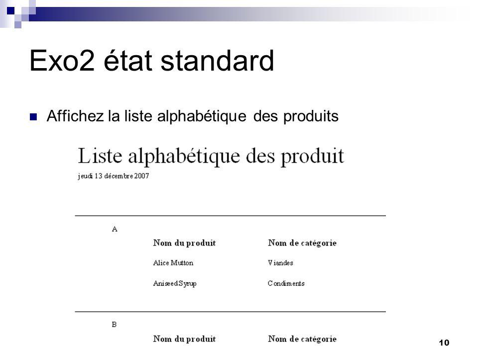 10 Exo2 état standard Affichez la liste alphabétique des produits