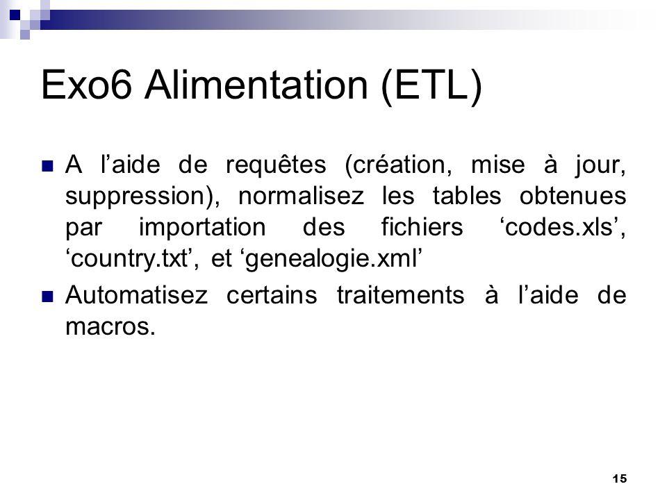 15 Exo6 Alimentation (ETL) A laide de requêtes (création, mise à jour, suppression), normalisez les tables obtenues par importation des fichiers codes