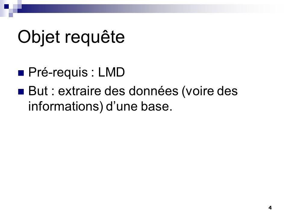 4 Objet requête Pré-requis : LMD But : extraire des données (voire des informations) dune base.