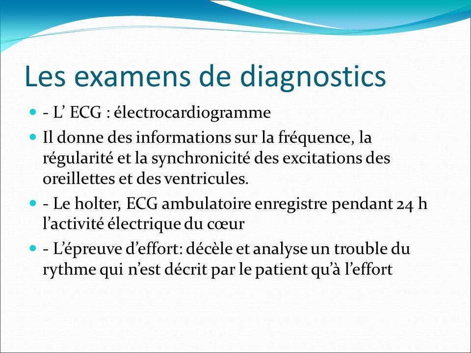 Les examens de diagnostics - L ECG : électrocardiogramme Il donne des informations sur la fréquence, la régularité et la synchronicité des excitations