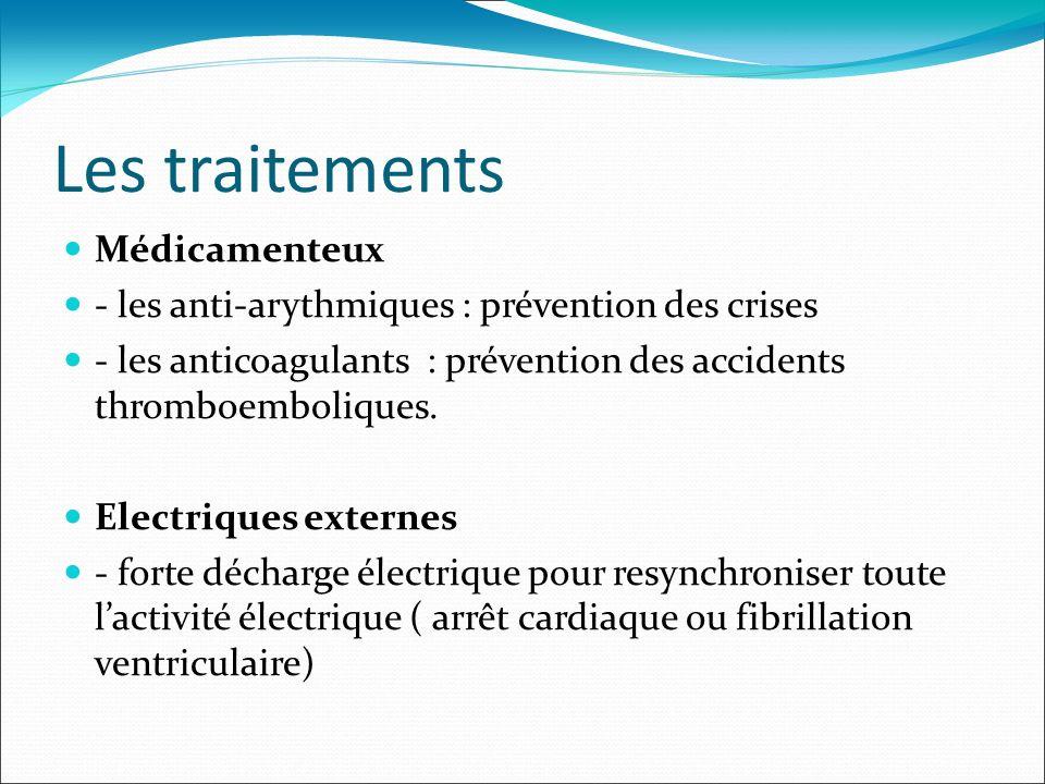 Les traitements Médicamenteux - les anti-arythmiques : prévention des crises - les anticoagulants : prévention des accidents thromboemboliques. Electr