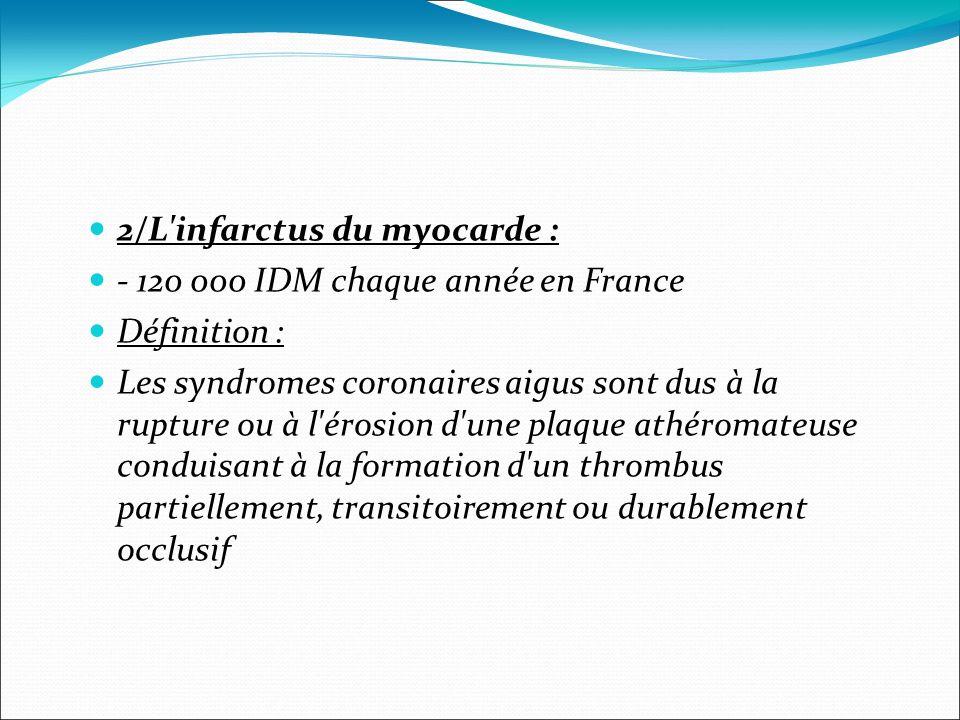 2/L'infarctus du myocarde : - 120 000 IDM chaque année en France Définition : Les syndromes coronaires aigus sont dus à la rupture ou à l'érosion d'un