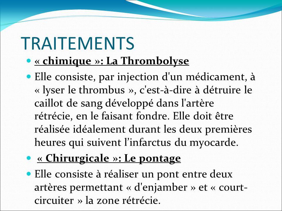 TRAITEMENTS « chimique »: La Thrombolyse Elle consiste, par injection d'un médicament, à « lyser le thrombus », c'est-à-dire à détruire le caillot de