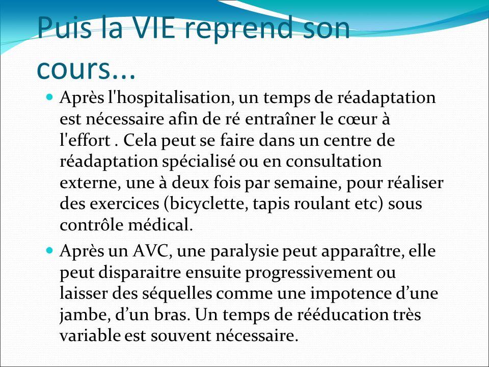 Puis la VIE reprend son cours... Après l'hospitalisation, un temps de réadaptation est nécessaire afin de ré entraîner le cœur à l'effort. Cela peut s