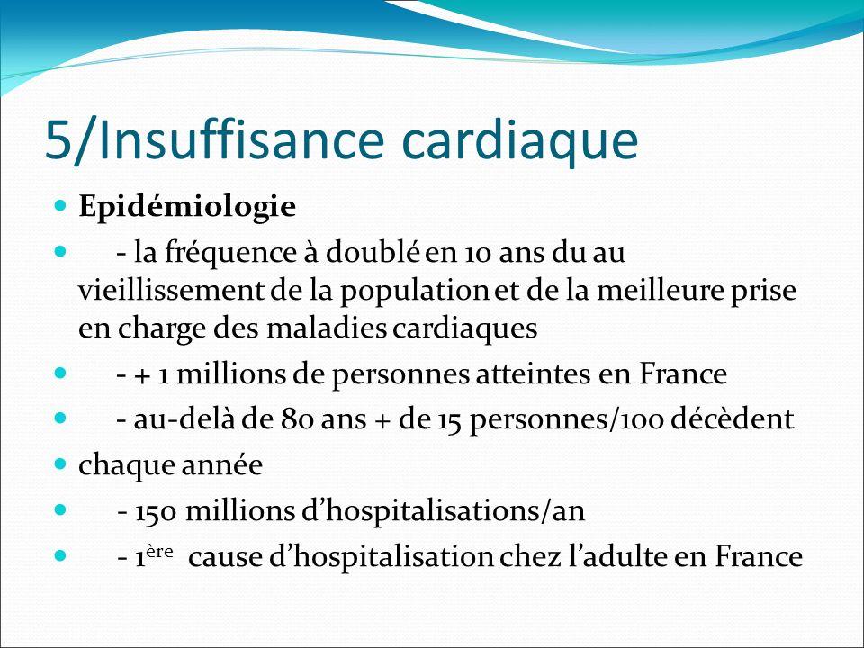 5/Insuffisance cardiaque Epidémiologie - la fréquence à doublé en 10 ans du au vieillissement de la population et de la meilleure prise en charge des