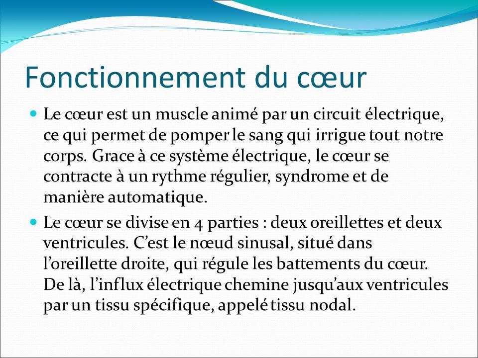 Fonctionnement du cœur Le cœur est un muscle animé par un circuit électrique, ce qui permet de pomper le sang qui irrigue tout notre corps. Grace à ce