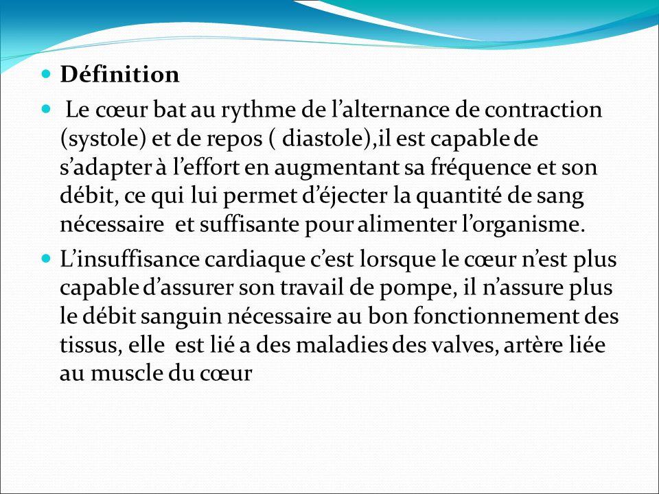 Définition Le cœur bat au rythme de lalternance de contraction (systole) et de repos ( diastole),il est capable de sadapter à leffort en augmentant sa