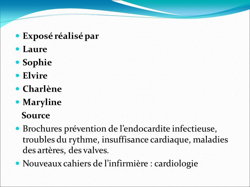 Exposé réalisé par Laure Sophie Elvire Charlène Maryline Source Brochures prévention de lendocardite infectieuse, troubles du rythme, insuffisance car