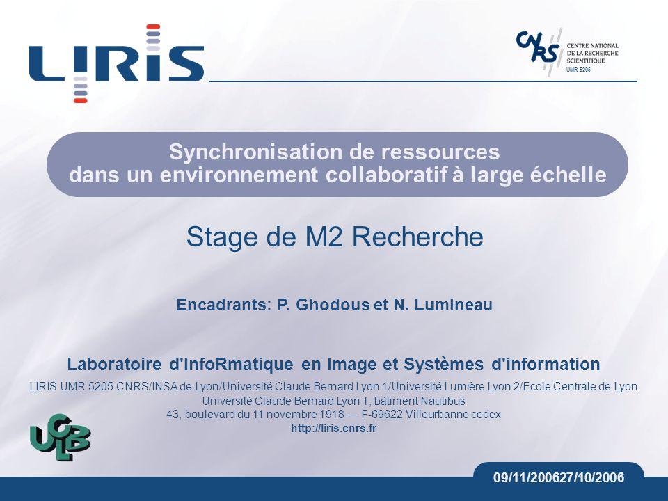 Laboratoire d'InfoRmatique en Image et Systèmes d'information LIRIS UMR 5205 CNRS/INSA de Lyon/Université Claude Bernard Lyon 1/Université Lumière Lyo