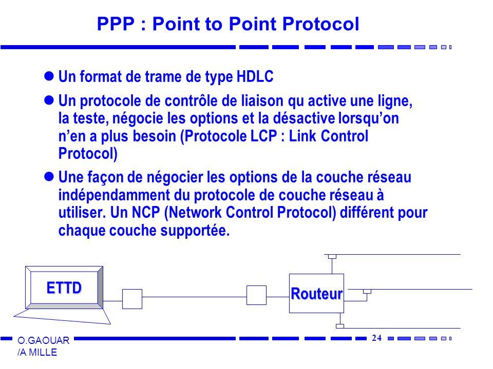 24 O.GAOUAR /A MILLE PPP : Point to Point Protocol Un format de trame de type HDLC Un protocole de contrôle de liaison qu active une ligne, la teste,