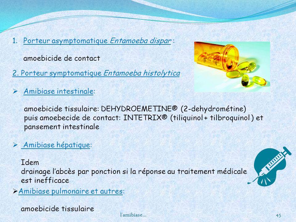 l'amibiase... 45 Amibiase intestinale: amoebicide tissulaire: DEHYDROEMETINE® (2-dehydrométine) puis amoebecide de contact: INTETRIX® (tiliquinol + ti