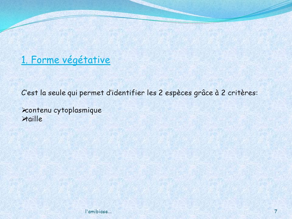 l amibiase...18 Kyste jeune: 1 à 2 noyau Forme: Arrondie, voir mm ovalaire, immobile, 12 à 14µm Paroi épaisse et réfringente (=dble coque non distincte à lEF) Kyste jeune= 1 à 2 noyau + vacuole avec cristalloïdes à bouts arrondis = chromodiums = corps réfringents Kyste m û r : 4 noyaux