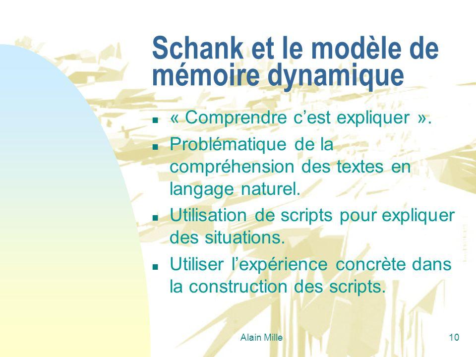 Alain Mille10 Schank et le modèle de mémoire dynamique n « Comprendre cest expliquer ». n Problématique de la compréhension des textes en langage natu