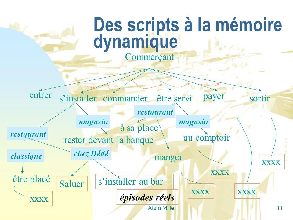 Alain Mille11 Des scripts à la mémoire dynamique Commerçant entrer sinstallercommanderêtre servi payer sortir être placé rester devant la banque magas