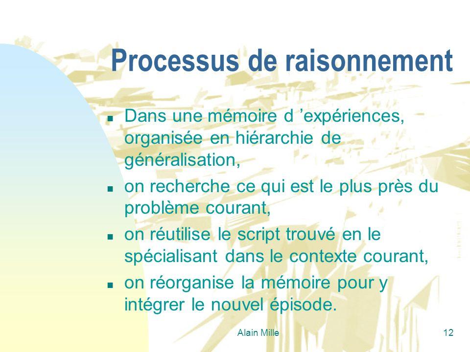 Alain Mille12 Processus de raisonnement n Dans une mémoire d expériences, organisée en hiérarchie de généralisation, n on recherche ce qui est le plus