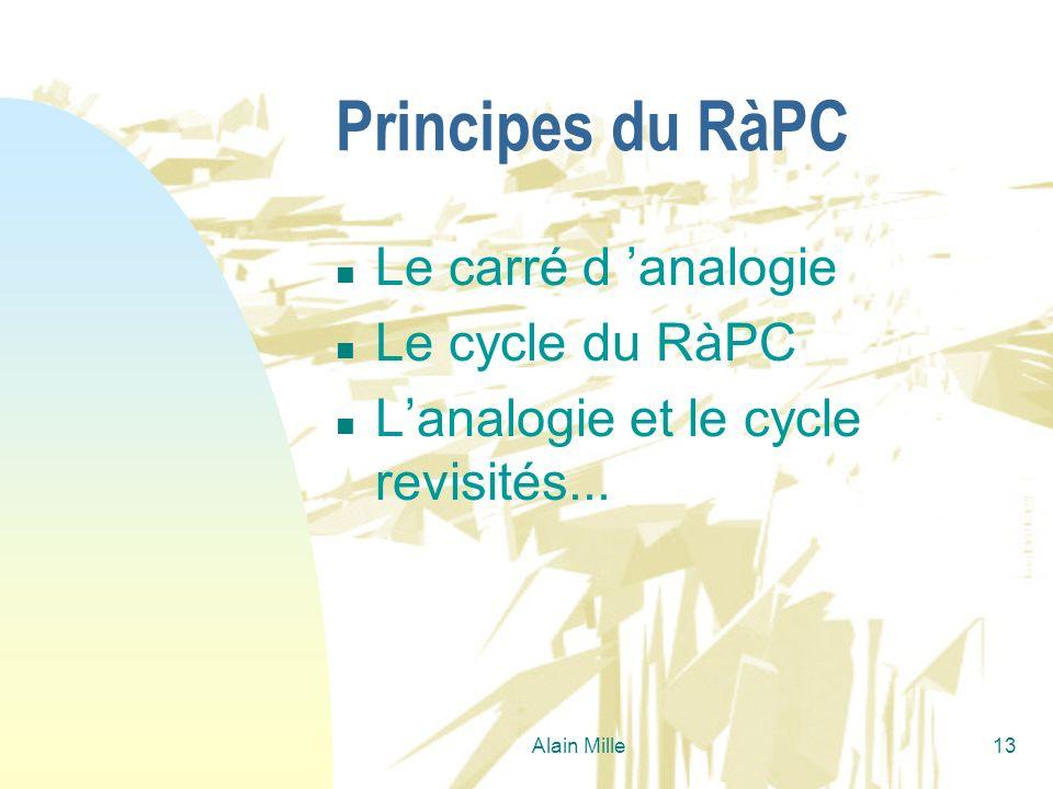 Alain Mille13 Principes du RàPC n Le carré d analogie n Le cycle du RàPC n Lanalogie et le cycle revisités...