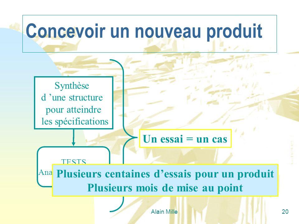 Alain Mille20 Synthèse d une structure pour atteindre les spécifications TESTS Analyse des résultats Un essai = un cas Concevoir un nouveau produit Pl