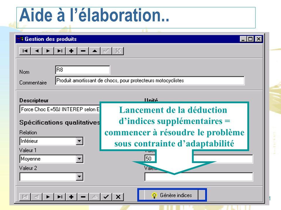 Alain Mille21 Copie d écran Accelere Lancement de la déduction dindices supplémentaires = commencer à résoudre le problème sous contrainte dadaptabili