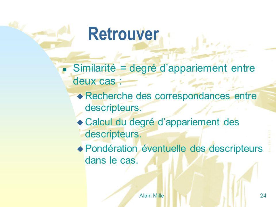 Alain Mille24 Retrouver n Similarité = degré dappariement entre deux cas : u Recherche des correspondances entre descripteurs. u Calcul du degré dappa